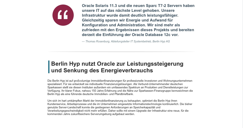 Screenshot - Oracle Anwenderbericht