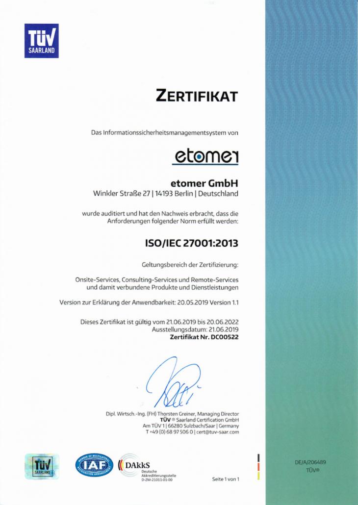 etomer erhält Zertifizierungen gemäß ISO/IEC 27001:2013 und TISAX [ENX]