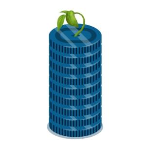 Oracle-Datenbank-Symbol mit keimender Pflanze